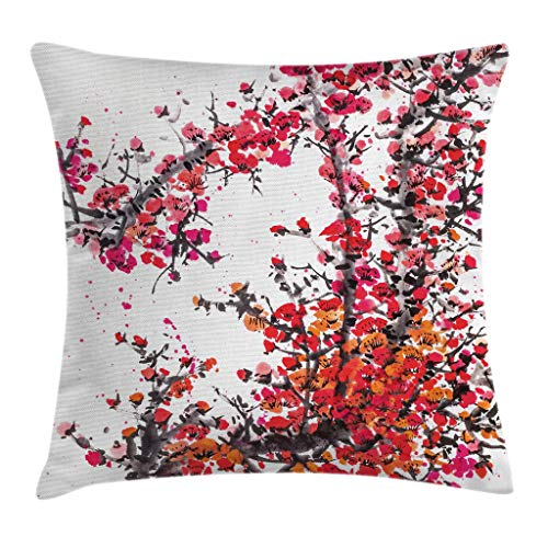 """Ambesonne Japanese Throw Pillow Cushion Cover, Japanese Cherry Blossoms in Watercolor Brush Style Eastern Vibrant Oriental Art, Decorative Square Accent Pillow Case, 24"""" X 24"""", Orange Red"""