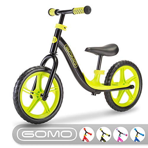GOMO Balance Bike - Toddler Training Bike for 18 Months, 2, 3, 4 and 5 Year Old Kids - Ultra Cool Colors Push Bikes for Toddlers/No Pedal Scooter Bicycle with Footrest (Black) (Best Rated Balance Bike)