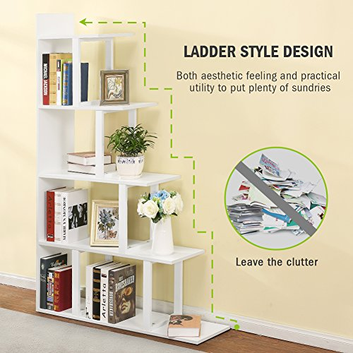 Tribesigns 5-Shelf Ladder Corner Bookshelf, Modern Simplism Style 67 '' H x 14.2'' W x 7.5''L, Made of Steel and Wood, for Living Room or Hallway (White) by Tribesigns (Image #3)