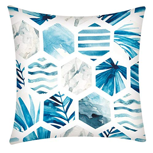 - Geometric Blue Style Soft Polyester Fiber Square Decor Throw Pillow Covers, Embroidery Print Pillowcases Rhombus Rock Cushion Covers Home Decoration18 x 18 Inches Standard Size (Tropical leaves)