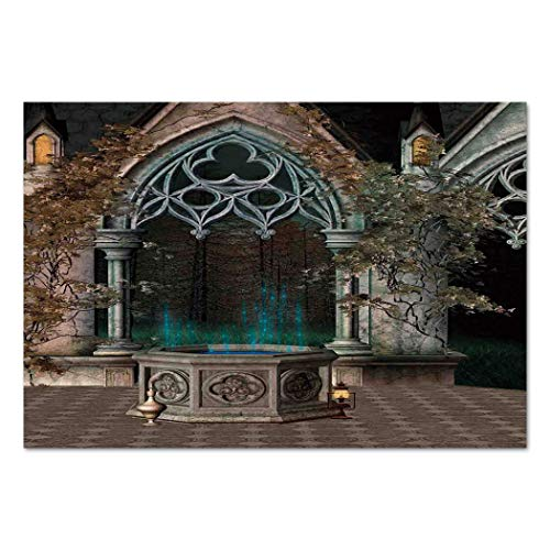 Large Wall Mural Sticker [ Gothic,Mystical Patio with Enchanted Wishing Well Ivy on Antique Gateway to Magical Forest,Grey Teal ] Self-Adhesive Vinyl Wallpaper/Removable Modern Decorating Wall - Window Covers Well Basement Large