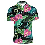 HUGS IDEA Men's Jersey Polos T-Shirt Classic Button Down Shirts Hawaiian Troical Leaves Short Sleeve