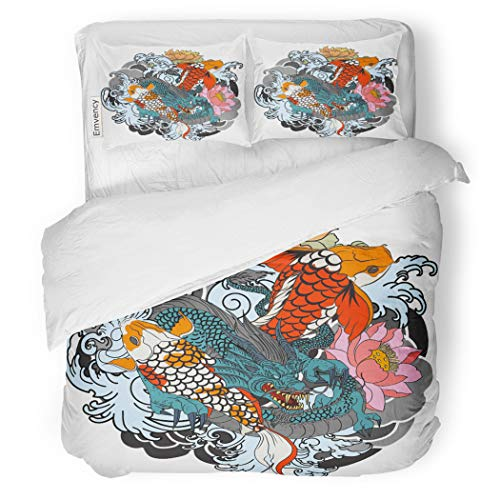 SanChic Duvet Cover Set Dragon and Koi Fish Flower Tattoo for Arm Decorative Bedding Set with 2 Pillow Cases King Size ()
