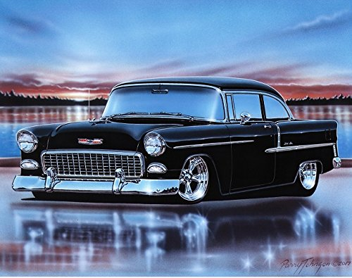 1955 Chevy Bel Air 2 Door Sedan Hot Rod Car Art Print Black 11x14 Poster