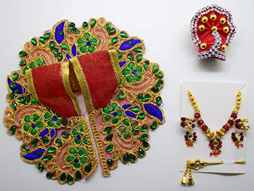 Handmade Red Colour Green/Blue Bal Krishna Dress and Ornaments for 2 To 4 Inches Laddu Gopal Idol