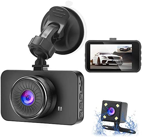 Dual Dash Cam DDGG Dash Cam Front and Rear, Full HD 3 IPS Screen Dashboard Camera, 170 Wide Angle and Rear Camera with Night Vision Car Driving Recorder, Motion Detection G-Sensor Loop Recording