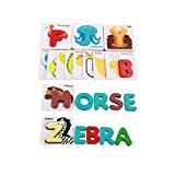 Naisidier Alphabet Letters Matching Puzzle ABCs Flash Cards with Animals for Kids Prechool Toddlers