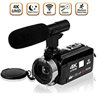 Video Camera Camcorder 4K Ultra HD Digital Camera WiFi...
