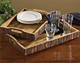 2 Pc Set of Serving Trays with Tree Bark Edges for Natural Element Decor
