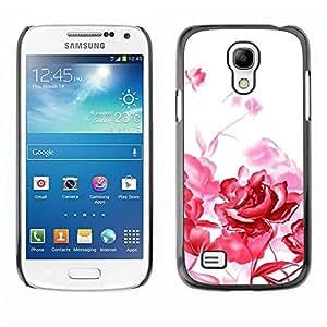 FECELL CITY // Duro Aluminio Pegatina PC Caso decorativo Funda Carcasa de Protección para Samsung Galaxy S4 Mini i9190 MINI VERSION! // Red Roses White Art Painting Simplistic