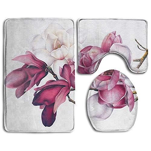 Non Slip Absorbent Water Bathroom Rug Toilet Sets, Botanical Magnolias Prints Non-Slip Bathroom Rugs 3 Piece Set Anti-Skid Pads Bath Mat + Toilet Lid Cover + Contour (Botanicals Magnolia)