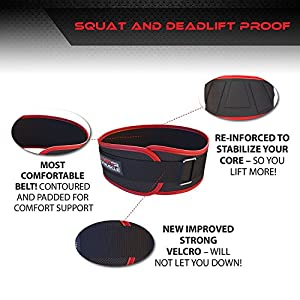 NEW YEAR DEAL - Workout Weight Lifting Belt for Men and Women – Contoured and Neoprene Lightweight for Comfortable Back Support - Ideal for Squat, Powerlifting, Deadlift Training (LARGE)
