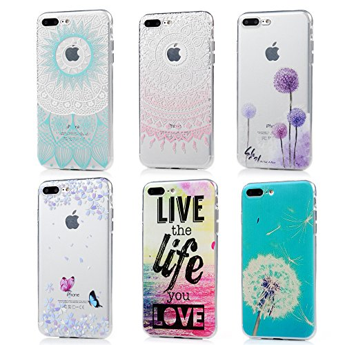 iPhone 8 Plus Case, iPhone 7 Plus Case - 6 Pcs Shock-Absorption TPU Rubber Skin Bumper Case Transparent Crystal Clear Cute Colorful Print Patterns Ultra Slim Protective Cover by Badalink - Group 4 ()