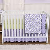 Lavender Poppy Floral 4 Piece Baby Girl Crib Bedding Set by Balboa Baby