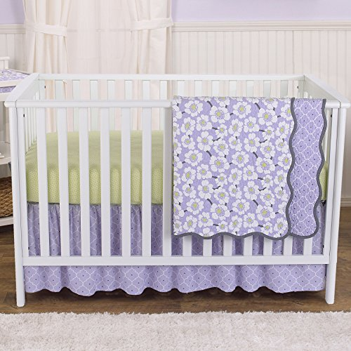 Lime 4 Piece Crib - Lavender Poppy Floral 4 Piece Baby Girl Crib Bedding Set by Balboa Baby