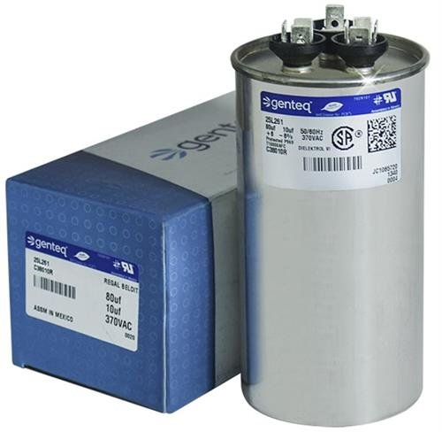Packard PRCD8010-80 10 uF MFD x 370 VAC Genteq Replacement Dual Capacitor Round # C38010R 27L261