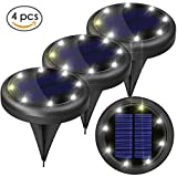 4pcs Solar Lights Outdoor - Solar Ground Lights for Pathway Garden Steps - Auto on When Darkness and Off When Daytime 2 Light Settings Waterproof Work for 20hours - Lit up on Cloudy Day (White)