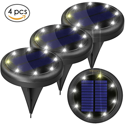4pcs Solar Lights Outdoor - Solar Ground Lights for Pathway Garden Steps - Auto on When Darkness and Off When Daytime 2 Light Settings Waterproof Work for 20hours - Lit up on Cloudy Day (White) by Mystery