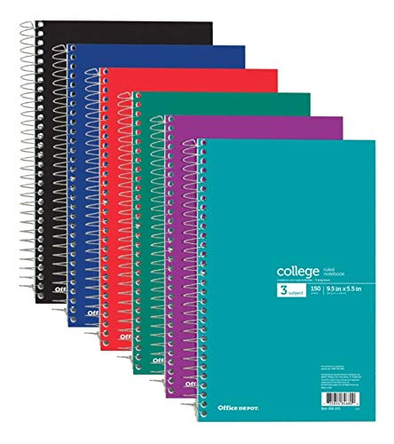 - Office Depot Wirebound Notebook, Perforated, 6in x 9 1/2in, 3 Subjects, College Ruled, 150 Sheets, Assorted Colors (No Color Choice), 06900-06681