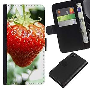 Planetar® Modelo colorido cuero carpeta tirón caso cubierta piel Holster Funda protección Para Sony Xperia Z3 D6603 ( Fruit Macro Wet Strawberry )
