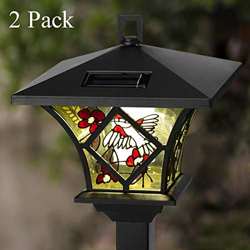 GIGALUMI Garden Solar Lights Outdoor, Tall Solar Powered Stake Lights – Decorative Hummingbird and Flower Lamps LED Lights for Walkway, Pathway, Yard, Lawn. (2 Pack)