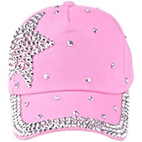 Hot Sale Unisex Boy Girls Adjustable Baseball Cap Rhinestone Star Shaped Baby Snapback Hat