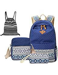 Canvas Dot Backpack Cute Lightweight Teen Girls Backpacks School Shoulder Bags Alando Backpack Set (Blue)