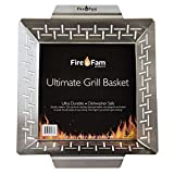 Fire&Fam Vegetable Grill Basket - Large Grilling Basket for Vegetables - Grill Basket for Shrimp & Veggies - BBQ Grilling - Heavy Duty Stainless Steel Grilling Accessories. Fits ALL Grills!