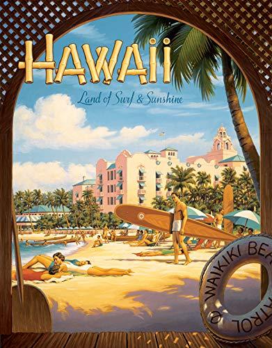 Desperate Enterprises Erickson - Hawaii Land of Surf & Sunshine Tin Sign, 12.5