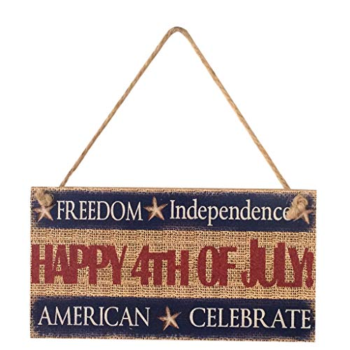 USA Flag Wooden Plaque,American 4th of July Independence Day Wooden Plaque Sign,Wall Art, Decorative Wood Sign Home Holiday Decor for wedding Garage Fence Garden Gate outdoor Sign (E)