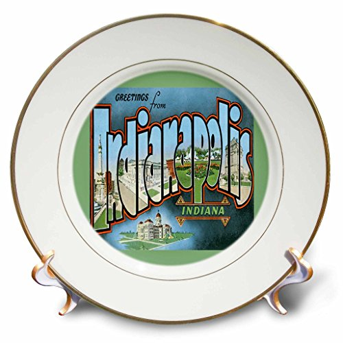 3dRose cp_169882_1 Greetings From Indianapolis Indiana Scenic Postcard Reproduction Porcelain Plate, 8-Inch