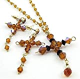 Delicate Crystal Cross Necklace Earring Set C21 Amber