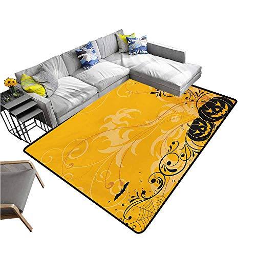 Long Kitchen Mat Bath Carpet Halloween,Carved Pumpkins with Floral Patterns Bats and Web Horror Jack o Lantern Artwork,Orange Black 48