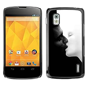 TopCaseStore / la caja del caucho duro de la cubierta de protección de la piel - black and white chernoe i - LG Google Nexus 4 E960