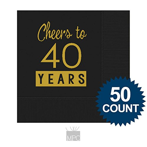 40th Birthday Black Cocktail Napkins - Cheers to 40 Years (50 napkins) - 40th Cocktail Napkins