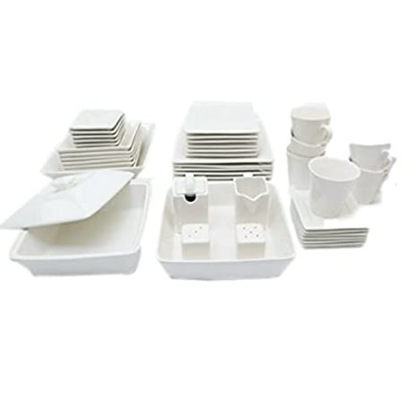 Magnificent 45 Piece Dinnerware Set White Square Banquet Plates Dining Dishes Kitchen Bowls Ebook By Easy2Find Interior Design Ideas Clesiryabchikinfo