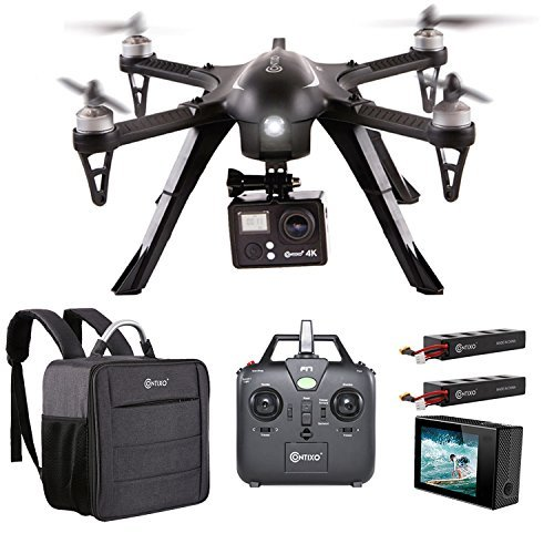Contixo F17+ RC Quadcopter Photography Drone 4K Ultra HD Camera 16MP, Brushless Motors, 2 High Capacity Batteries, Supports GoPro Hero Cameras, Water Resistant Back Bag
