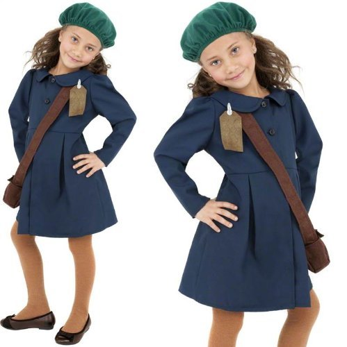 [Girls 1940s World War 2 II WW2 Evacuee Wartime Fancy Dress Costume 4-12 yrs MEDIUM by Star55] (World War 2 Evacuees Costumes)