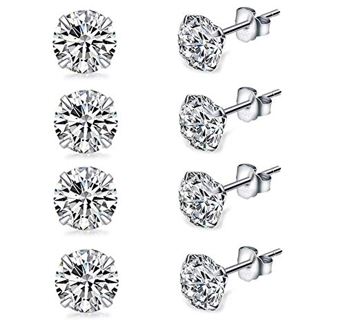 4 Pairs Tiny 3mm Studs Earrings, Round Clear Cubic Zirconia Stud Earrings for Sensitive Ears priercing, Small Ear Studs for Women Girls Mens (3mm Pack of 4)