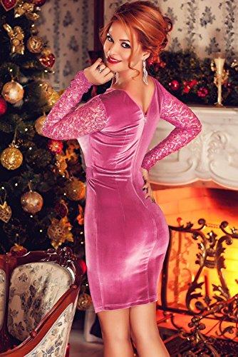 NEW Mesdames Fuchsia en velours doux & Paillettes dentelle Mini robe Soirée Cocktail d'été robes Taille 12