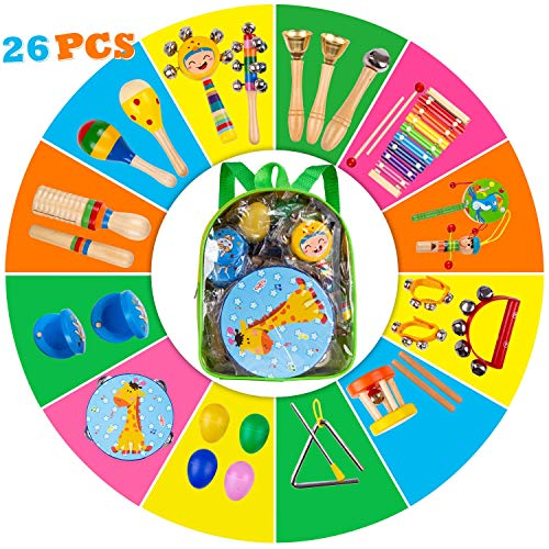 Kids Percussion Musical Instruments Toys - 26 Pcs 17 Types Wooden Instruments with Storage Bag Tambourine Xylophone Egg Maracas for Preschool Education Early Music