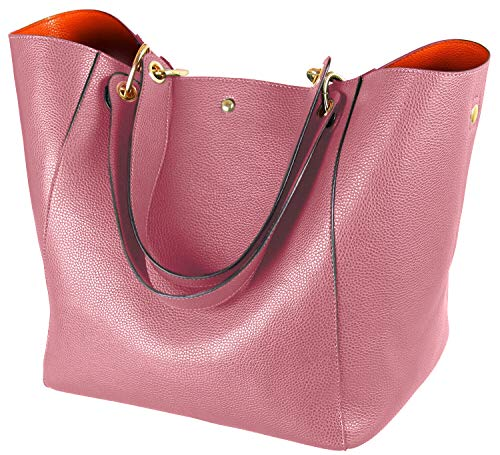 for Women's Leather Purse and handbags ladies Waterproof Shoulder commuter Bag pink ()