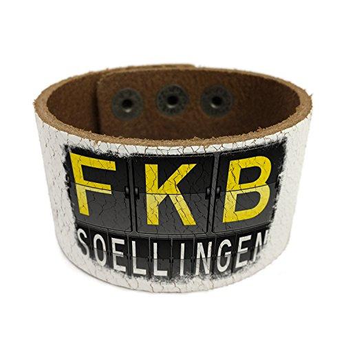 Neonblond Fkb Airport Code For Soellingen Leather Cuff Unisex Women  Mens Bangle Bracelet