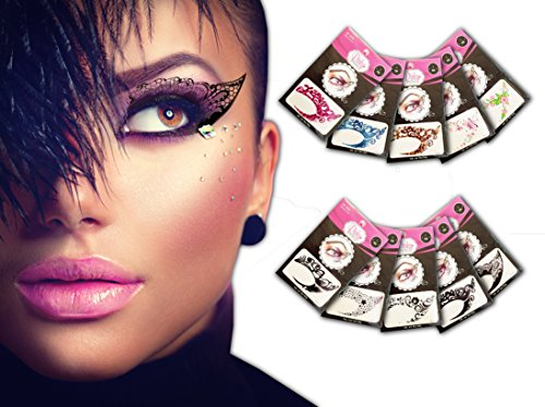 Temporary Eye Tattoo 10 PAIRS - Transfer Eyeshadow and Eyeliner Stickers by Pinky Petals (Korean Tattoo Sticker)