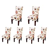 parson dining chairs Jiuhong Stretch Removable Washable Short Dining Chair Protector Cover Slipcover (6, Style 10)