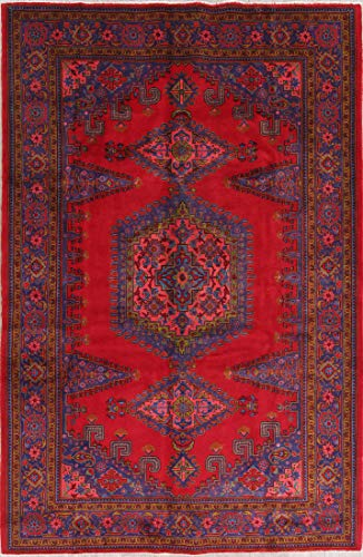 Rug Source Traditional Viss Wool Handmade Persian Red Oriental 7x10 Area Rug (10' 4