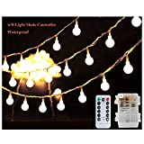 Globe String Light, LED Starry Fairy Light with Remote and Timer, 8 Light Modes Battery Operated Lights for Indoor Outdoor, Bedroom, Wedding, Garden Patio, Trees(Dimmable, Warm White),17Foot/50LEDs