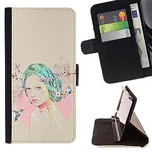 HUMMINGBIRD PINK BEIGE TEAL GIRL EMO/ Personalizada del estilo del dise???¡Ào de la PU Caso de encargo del cuero del tir????n del soporte d - Cao - For Apple Iphone 5 / 5S
