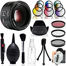 Yongnuo 50mm f/1.8 AF Standard Prime Lens with Hood, Colored Filters, UV, CPL, FLD, Blower, Brush, Lens Pen for Canon EOS 80D, 70D, 60D, 50D, T6i, T6s, T6, T5i, T5, T4i, T3i, T3 Digital SLR Cameras