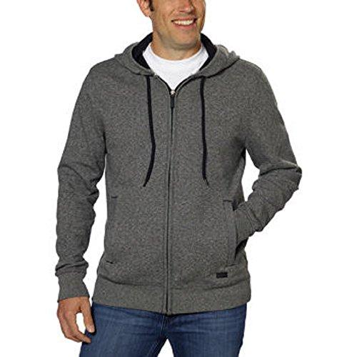 Men Sweaters Dkny Jeans - DKNY Jeans Men's Full Zip Hooded Sweatshirt-Charcoal, Large